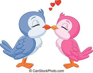 Kartoon zwei lieben Vögel küssen.