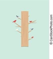Kartoonbaum mit Vögeln.
