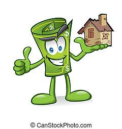 Kartoongeld mit beschädigten Häusern.
