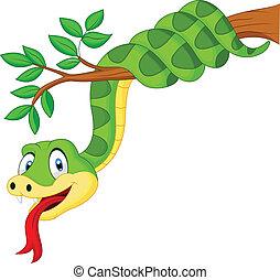 Kartoongrüne Schlange auf dem Ast.