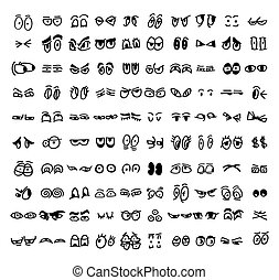 Kartoonset der gezeichneten Augen.