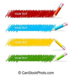 kasten, bleistifte, vektor, bunte, text