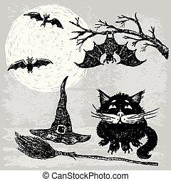 katz, nacht, schwarz, halloween