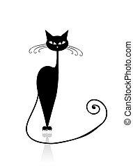 katz, schwarz, dein, design, silhouette