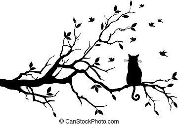 Katze auf einem Baum mit Vögeln, Vektor