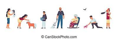 katzen, adoptiert, kliniken, leute, vektor, inländisch, charaktere, nehmen, wohnungslose, abkommen, abirren, sich entfernen, richtung ändern, sich unterscheiden, tierarzt, satz, pets., hund, spielende , zentrieren, annahme, unterstand, dogs., tiere
