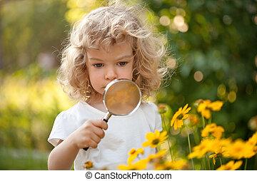 kind, blumen, forscher, kleingarten