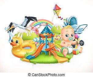 kinder, abbildung, toys., vektor, spielplatz, kinder, 3d