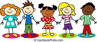 kinder, andersartigkeit, stecken figur, ethnisch
