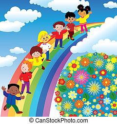 Kinder auf Regenbogenrutschen.