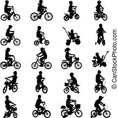 Kinder fahren Fahrrad