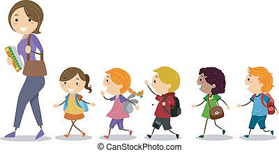 Kinder folgen ihrem Lehrer