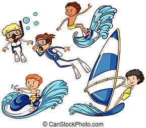 Kinder genießen die verschiedenen Wassersportarten.