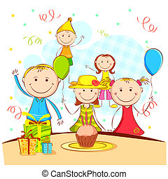 Kinder genießen Party.