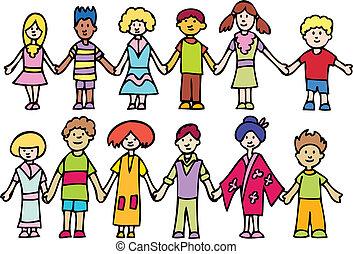 Kinder halten Händchen