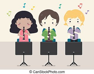 Kinder Klarinette-Musikklasse-Darstellung.
