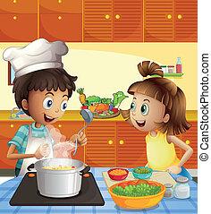 kinder, kochen, kueche