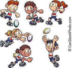 kinder, rugby, spielende