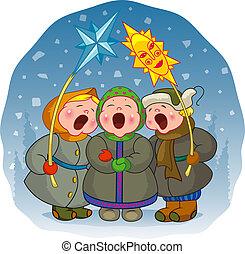 Kinder singen ein Weihnachtslied
