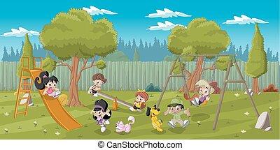 kinder, spielende , spielplatz