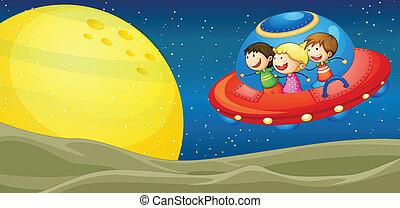 Kinder und fliegende Untertassen