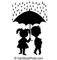 Kinder unter einem Regenschirm.
