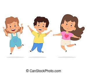 kinder, zusammen, springende , glücklich
