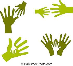 Kinderhände und erwachsene Hände
