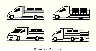 kipper, baugewerbe, lastwagen, verschieden, perspektive