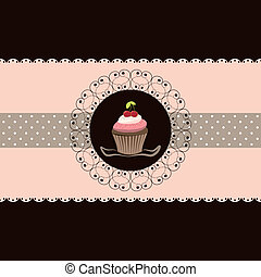 Kirsch-Cupcake-Einladungskarte