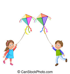 kite., kinder, spielende