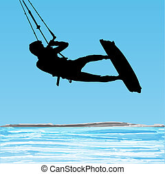 Kiteboarder-Sprung Silhouette