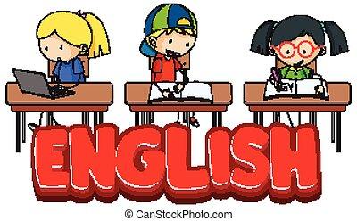 klassenzimmer, schriftart, studenten, design, englisches , wort
