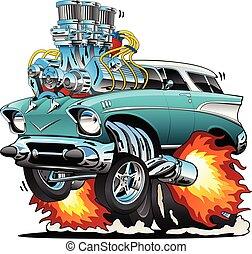Klassische 50er-Hot-Stick-Muskel-Car-Car-Car-Trick-Vektor Illustration.