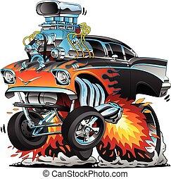 Klassische Hot Rod-Fifties Stil Gasser ziehen Rennmuskel Auto, rote heiße Flammen, großer Motor, viele Chrom, Cartoon Vektor Illustration.