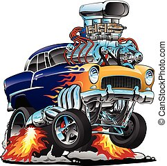 Klassischer Hot Rod Muskelwagen, Flammen, großer Motor, Cartoon Vektor Illustration.