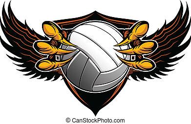 klauen, vektor, volleyball, talons, adler, abbildung