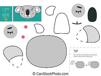 klebstoff, pappe, vektor, papier, zeichen, lustiges, koala, toy., schnitt, freisteller, modell