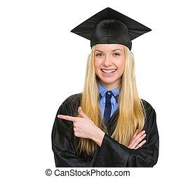 kleid, frau- zeigen, raum, junger, studienabschluss, lächeln, kopie