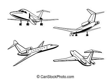 klein, flugzeug, passagier, perspektive