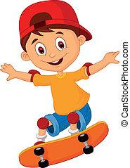 Kleiner Cartoon Skateboarding
