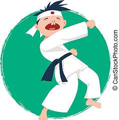 Kleiner Junge, der Karate macht.