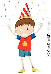 Kleiner Junge mit Partyhut.