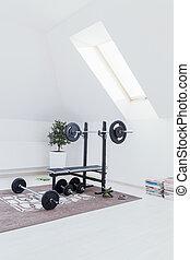Kleines Fitnessstudio.