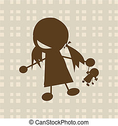 Kleines Mädchen, das mit Puppe spielt