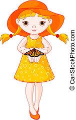 kleines mädchen, papillon