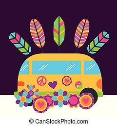 kleintransport, hippie, weinlese, frei, retro-blüten, geist