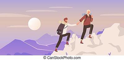 klettern, paar, junger, bergsteiger, reise, frau, berg, leute bemannen, abenteuer, wanderer, natur