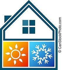 Klimaanlage Symbol Haus.