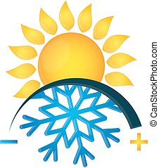 Klimaanlage Symbol Schneeflocke und Sonne.